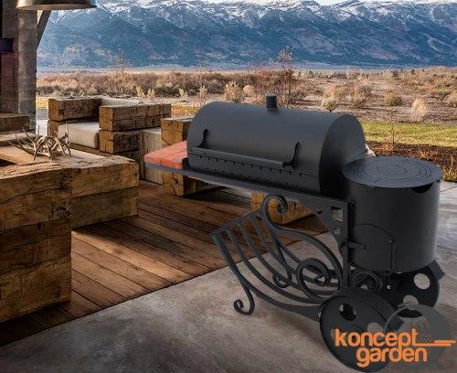 Мангал-коптильня МК-13 с печью для казана Koncept garden