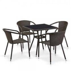 Обеденный комплект плетеной мебели из искусственного ротанга T282BNS/Y137C-W53 Brown 4Pcs