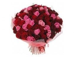 "Букет роз ""Красно-розовый микс"" 51 роза"