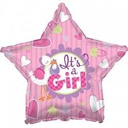 """Фольгированный шар """"Аист принес девочку, Розовый"""" 18″ (46 см)"""