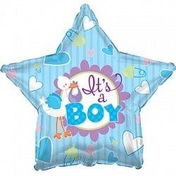 """Фольгированный шар """"Аист принес мальчика, Голубой"""" 18″ (46 см)"""