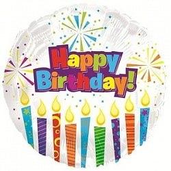 """Фольгированный шар """"С Днем рождения (горящие свечи), Белый"""" 18″ (46 см)"""