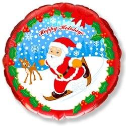 """Фольгированный шар """"Скользящий Санта"""" 18″ (46 см)"""