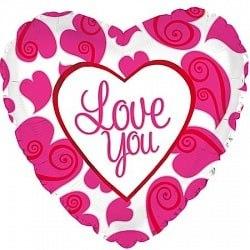 """Фольгированный шар """"Я люблю тебя (неоновые сердца), Белый"""" 18″ (46 см)"""