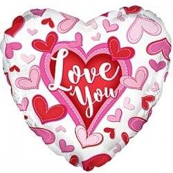 """Фольгированный шар """"Я люблю тебя (сердечки), Белый"""" 18″ (46 см)"""