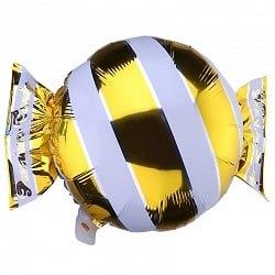 """Фольгированный шар """"Конфета, Золото"""" 18″ (46 см)"""