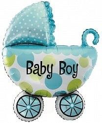 """Фольгированный шар """"Коляска для мальчика"""" 42"""" (107 см)"""