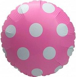 """Фольгированный шар """"Розовый круг в белый горох"""" 18″ (46 см)"""