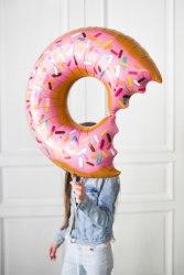 """Фольгированный шар """"Пончик (надкусанный), Розовый"""" 26"""" (66 см)"""