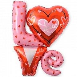 """Фольгированный шар """"Надпись «LOVE» с сердечками"""" 41"""" (104 см)"""