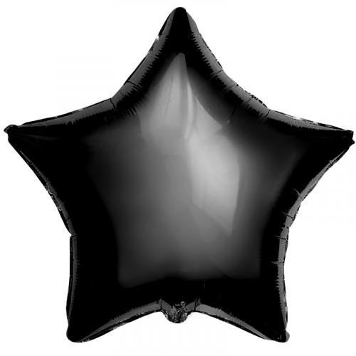 """Фольгированный шар """"Черная звезда"""" 18″ (46 см)"""