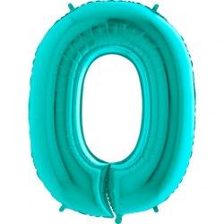 """Фольгированный шар """"Цифра, 0, Тиффани"""" 40"""" (102 см)"""