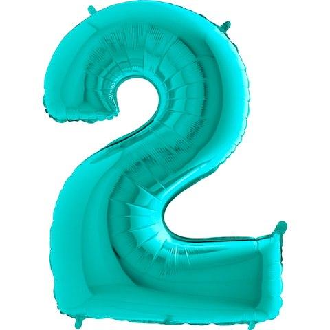"""Фольгированный шар """"Цифра, 2, Тиффани"""" 40"""" (102 см)"""