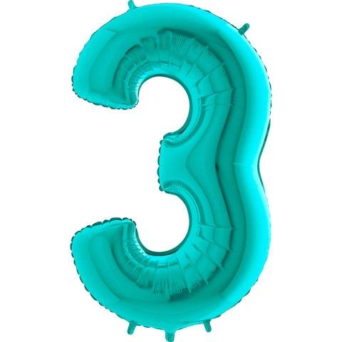 """Фольгированный шар """"Цифра, 3, Тиффани"""" 40″ (102 см)"""