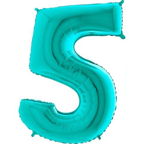 """Фольгированный шар """"Цифра, 5, Тиффани"""" 40"""" (102 см)"""