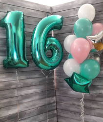 """Фольгированный шар """"Цифра, 6, Тиффани"""" 40″ (102 см)"""