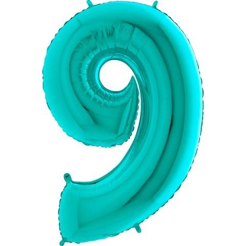 """Фольгированный шар """"Цифра, 9, Тиффани"""" 40"""" (102 см)"""