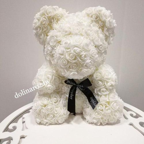 """Мишка из 3D роз """"Белый"""" + подарочная упаковка 40 см"""