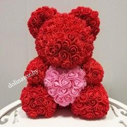 """Мишка из 3D роз """"Красный с розовым сердцем"""" + подарочная упаковка 40 см"""