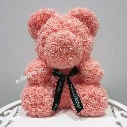 """Мишка из 3D роз """"Персиковый"""" + подарочная упаковка 40 см"""