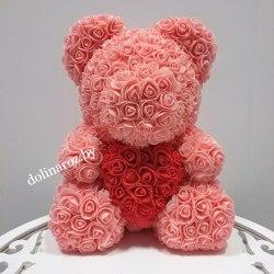 """Мишка из 3D роз """"Персиковый с красным сердцем"""" + подарочная упаковка 40 см"""