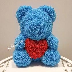 """Мишка из 3D роз """"Голубой с красным сердцем"""" + подарочная упаковка 40 см"""