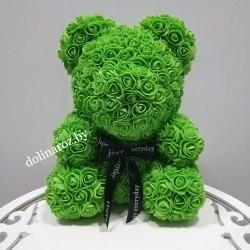 """Мишка из 3D роз """"Зеленый"""" + подарочная упаковка 40 см"""