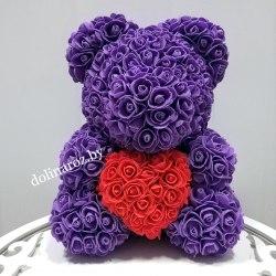 """Мишка из 3D роз 40 см """"Фиолетовый с красным сердцем"""" + подарочная упаковка"""