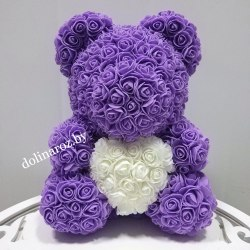 """Мишка из 3D роз 40 см """"Фиолетовый с белым сердцем"""" + подарочная упаковка"""