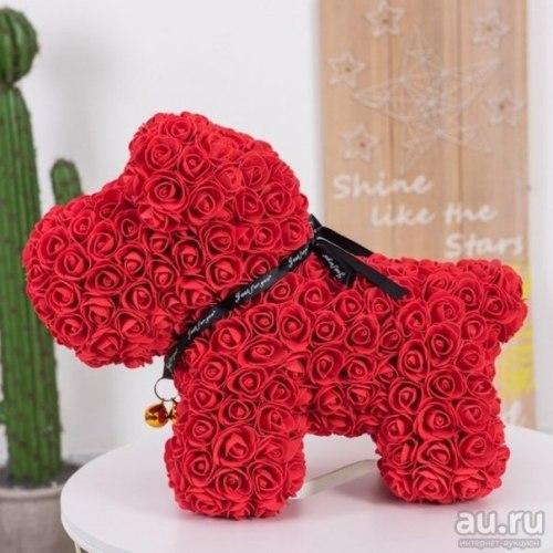 Собачка из роз (красная)