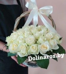 Корзина роз «белая» 51 роза