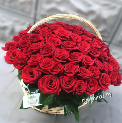 Корзина красная 51 роза