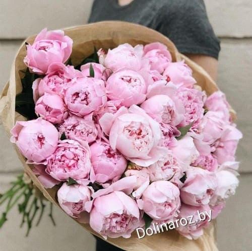 Букет из 31 розового пиона