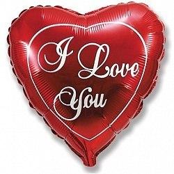 """Фольгированный шар """"Я люблю тебя, Красный"""" 18"""" (46 см)"""