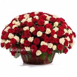 Цветы в корзине Красно-кремовый микс 251 роза