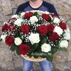 """Цветы в корзине """"Симфония"""" 51 роза"""