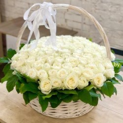 """Цветы в корзине """"Филадельфия"""" 101 роза"""
