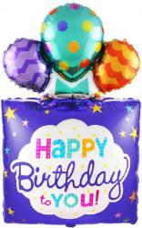 """Фольгированный шар """"Квадрат, Подарок «С Днем Рождения!», Синий"""" 42"""" (107 см)"""