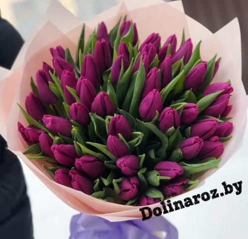 """Букет тюльпанов """"Черничные ночи"""""""