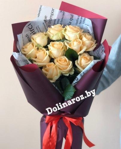"""Букет роз """"Сочный персик"""" 11 роз"""