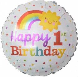 """Фольгированный шар """"Круг, С Днем Рождения, 1 Годик! (радуга), Белый"""" 18″ (46 см)"""