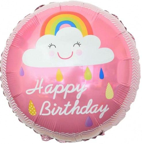 """Фольгированный шар """"Круг, С Днем Рождения! (облако и радуга), Розовый"""" 18″ (46 см)"""