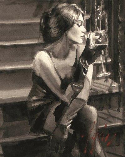 """Картина для раскрашивания по номерам """"Девушка с бокалом"""" (40*50)"""