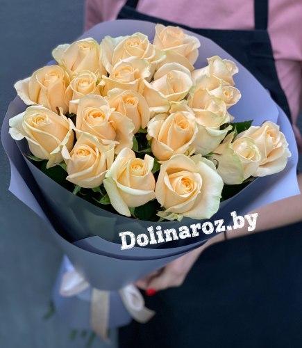 Букет роз «Нежный Крем» 19 роз