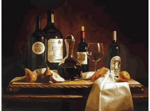 """Картина для раскрашивания по номерам """"Вино и груши"""" (30*40)"""