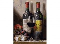 """Картина для раскрашивания по номерам """"Вино, сыр и виноград"""" (30*40)"""