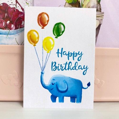 """Открытка """"Happy birthday. Слоник с шариками"""" 7*10"""