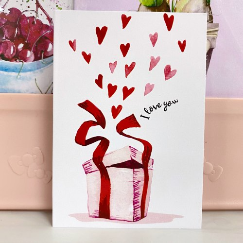 "Открытка ""I love you. Подарок с сердечками"" 7*10"