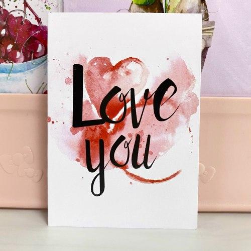 """Открытка """"Love you. Акварель"""" 7*10"""