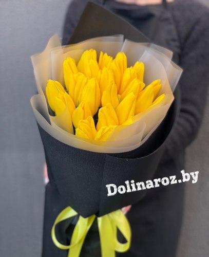 """Букет тюльпанов """"Черно-желтый"""""""